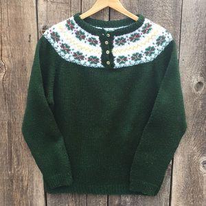 VTG Hand Knit Pullover 4-Button Alpine Sweater